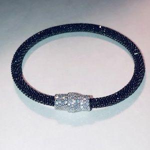 🌹 Italian 925 Sterling Black Mesh Pavé Bracelet